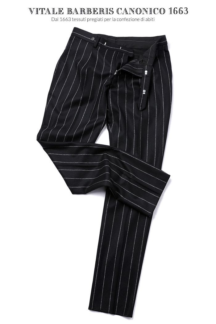 TAKE470 ITALY VITALE BARBERIS CANONICO 1663 STRIPE PANTS-BLACK