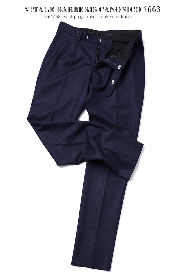 TAKE475 ITALY VITALE BARBERIS CANONICO 1663 FLANNEL PANTS-NAVY품절임박!