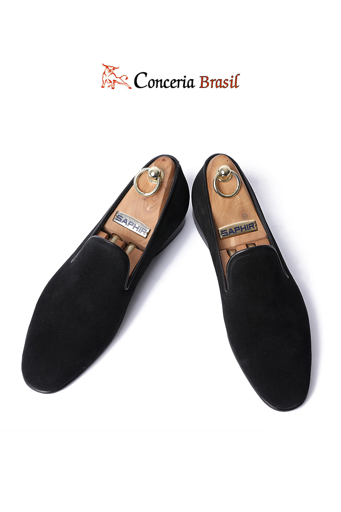 TAKE477 Artisan ITALY Conceria Brasil suede loafer-BLACK-LIMITED